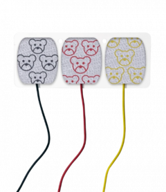 Neonatal ECG 3x prewired cloth substrate electrodes with 1.5mm connectors
